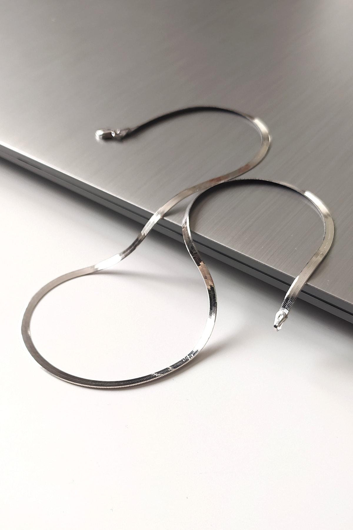 PIRAYE 925 Ayar Gümüş Orijinal Italyan Yassı Zincir Rodyum Kaplama (rodajlı) 45 Cm