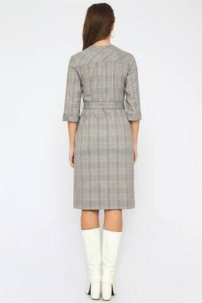 Chima Düğmeli Ekose Elbise 4