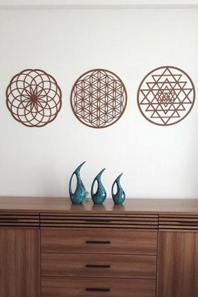 Naz Ahşap Design Yaşam Çiçeği Sri Yantra Ve Torus 3'lü Set Kahverengi Duvar Tablosu 0