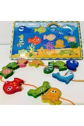 Kelebek Oyuncak 2 Oyun 1 Arada Ahşap Mıknatıslı Balık Tutma Ve Ipe Dizme Oyunu 4