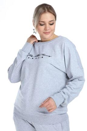 Picture of Kadın Gri Büyük Beden Sweatshirt 2525
