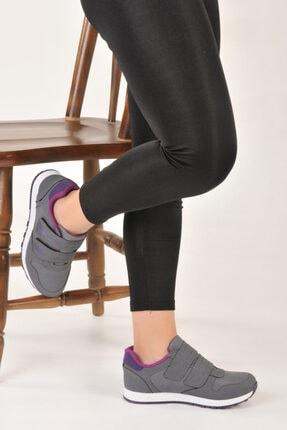 Özay ayakkabı Unisex Gri Renk Çift Bantlı Spor Ayakkabı 1