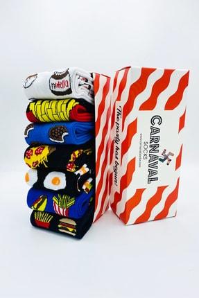 CARNAVAL SOCKS 7'li Fast Food Yemek Yiyecek Desenli Çorap Set 1014 0