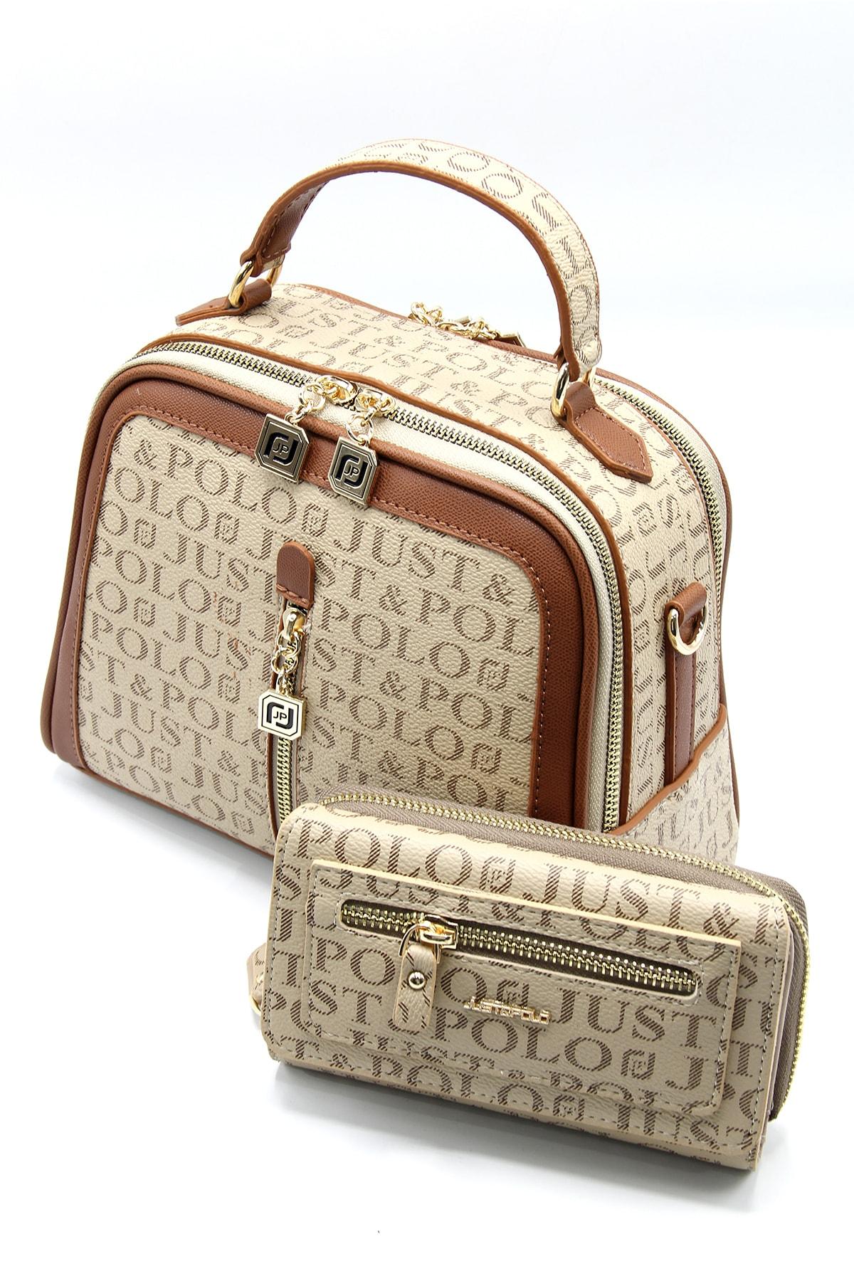 Kadın Vizon/taba Çanta Cüzdan Kombin