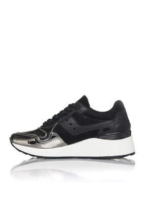 İnci Kadın Gümüş Siyah Vegan Ayna Süet Bağcıklı Klasik Spor Ayakkabı -3003 3