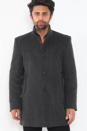 Erkek Antrasit Düğmeli Palto Plt8387 resmi