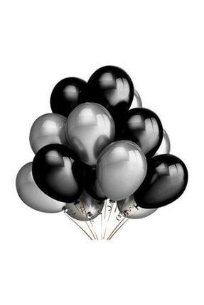 Parti Dolabı 25 Adet Metalik Sedefli Siyah-gümüş Gri Karışık Balon Helyumla Uçan 0