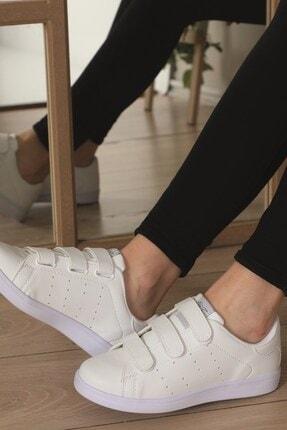 AlbiShoes Unisex Cırtlı Beyaz Sneaker - Bcc75 1