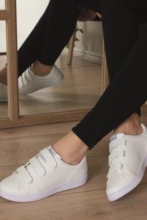 AlbiShoes Unisex Cırtlı Beyaz Sneaker - Bcc75 3