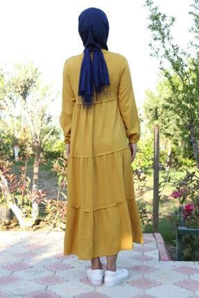 Bigdart Kadın Sarı Yaka Bağcıklı Tesettür Elbise 1627 3