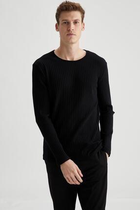 Defacto Erkek Siyah Bisiklet Yaka Slim Fit Uzun Kollu Basic Tişört 0