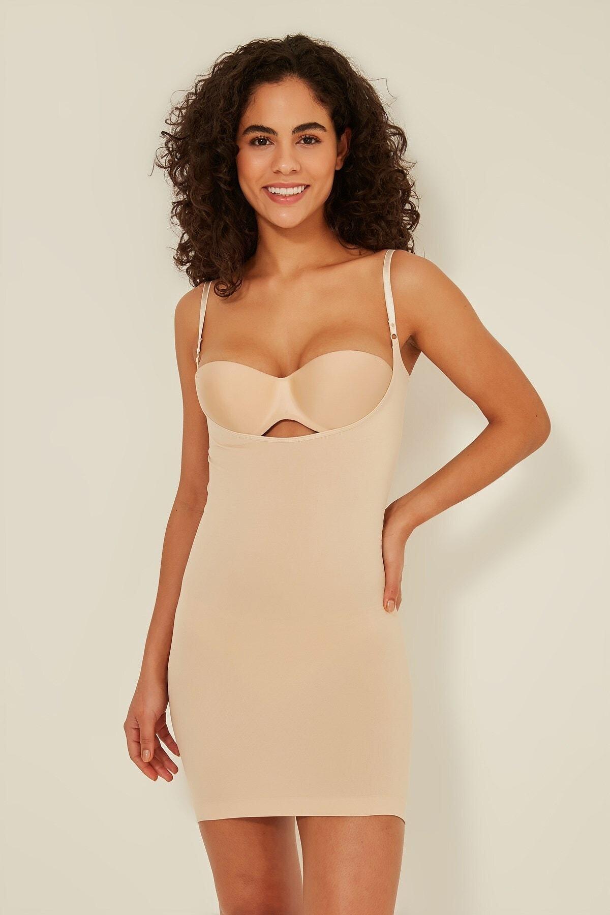 Kadın Ten Göğsü Açık Elbise Korse C15060