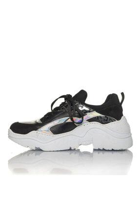 İnci Kadın Siyah Vegan Cilt/dalgıç Slip On Bağcıklı Klasik Spor Ayakkabı -i3007 3
