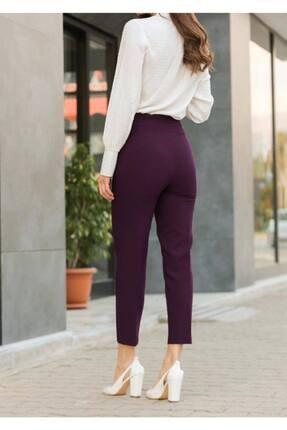 ZARAZA Kadın Bordo Yüksek Bel Dikişli Binici Pantolon 1071 3
