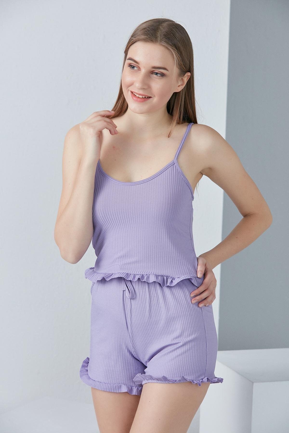 Kadın Lila Askılı Fırfır Detaylı Örme Pijama Takımı