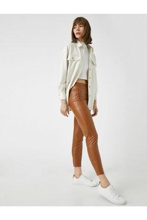 Koton Kadın Kahverengi Deri Görünümlü Pantolon 1