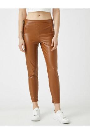 Koton Kadın Kahverengi Deri Görünümlü Pantolon 2