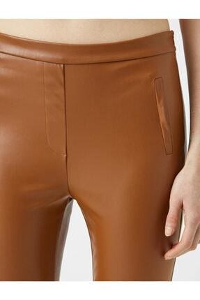 Koton Kadın Kahverengi Deri Görünümlü Pantolon 4