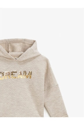 Koton Kız Çocuk Beyaz Kapüşonlu Yazılı Baskılı Uzun Kollu Sweatshirt 2