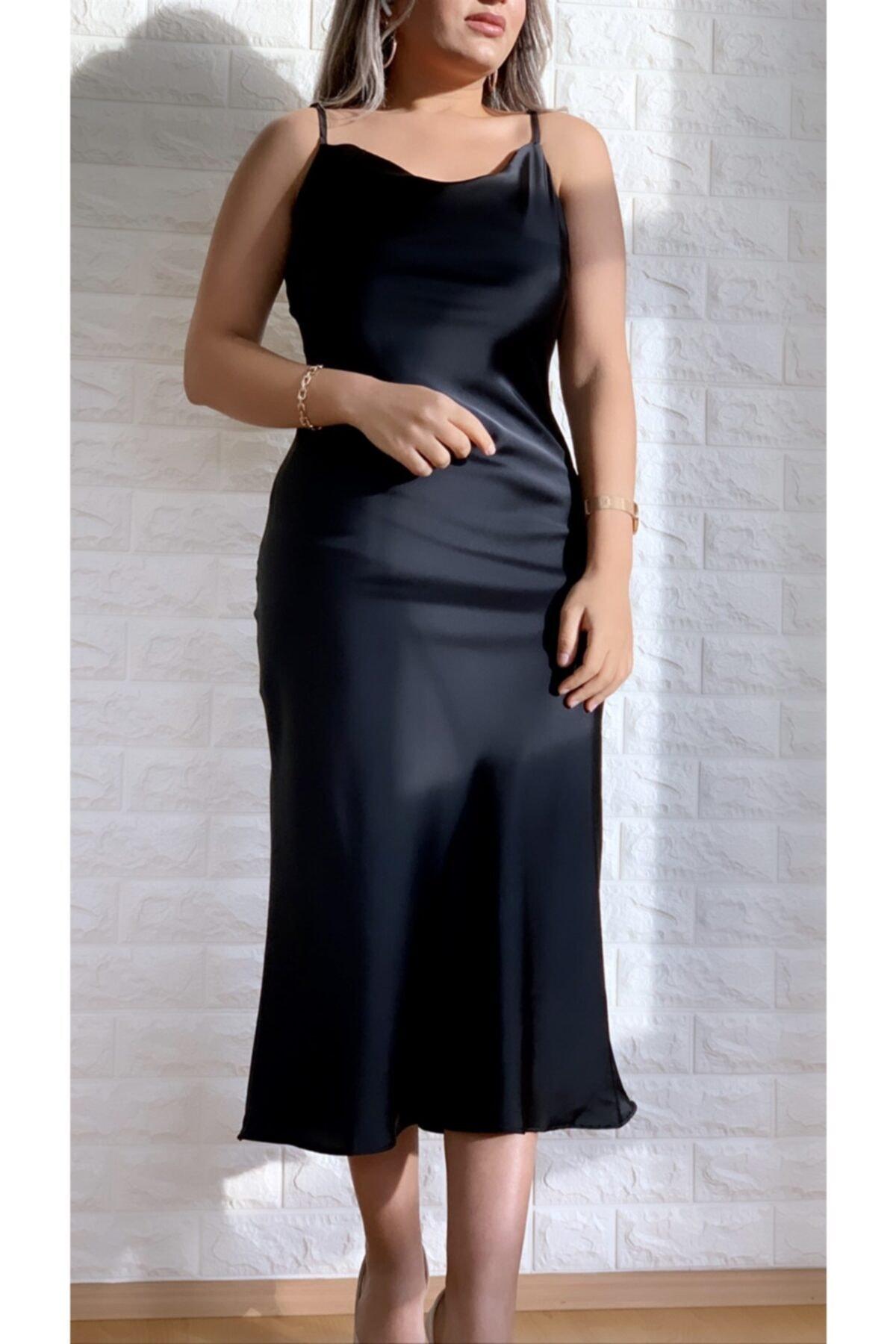 Kadın Siyah Ayarlanabilir Askılı Saten Elbise