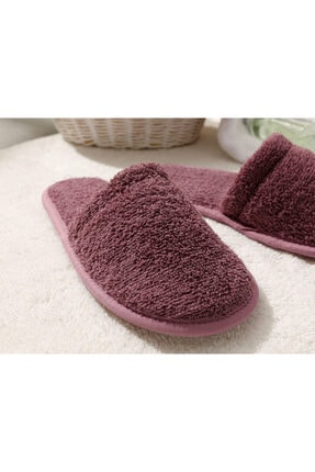 English Home Simple Pamuklu Kadın Banyo Terliği 36-40 Gül Kurusu 1