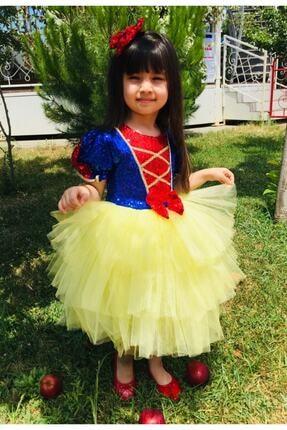 Mixie Kız Çocuk Sarı Pamuk Prenses Doğum Günü Kostüm Elbisesi 0