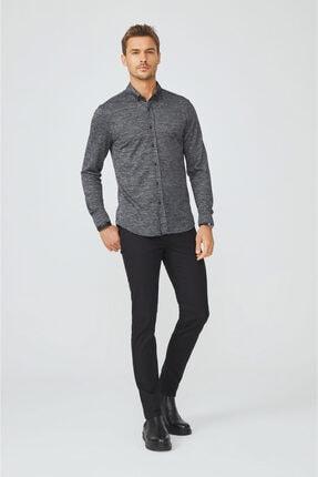 Avva Erkek Jakarlı Alttan Britli Yaka Slim Fit Örme Gömlek 4
