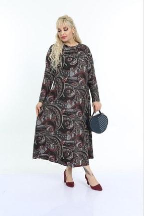 Şirin Butik Kadın Bordo Büyük Beden Yaka Pervazlı Elbise 2