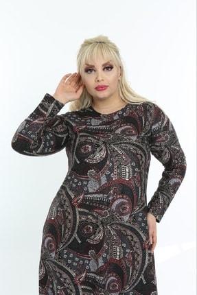 Şirin Butik Kadın Bordo Büyük Beden Yaka Pervazlı Elbise 3
