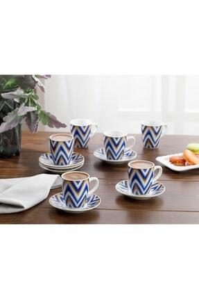 English Home Eva Porselen 6'lı Kahve Fincan Takımı 100 ml Mavi 0