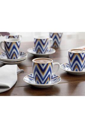 English Home Eva Porselen 6'lı Kahve Fincan Takımı 100 ml Mavi 1