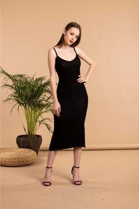The Base Kadın Siyah Yırtmaç Detaylı V Yaka Ip Askılı Kalem Elbise 1