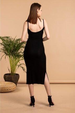 The Base Kadın Siyah Yırtmaç Detaylı V Yaka Ip Askılı Kalem Elbise 3
