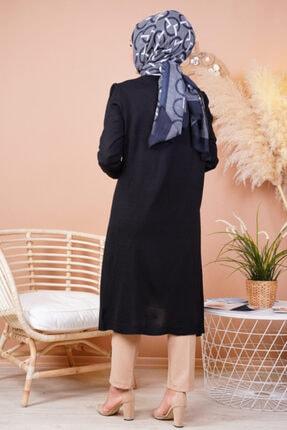 FY Giyim Kadın Siyah Mevsimlik Uzun Triko Hırka 2