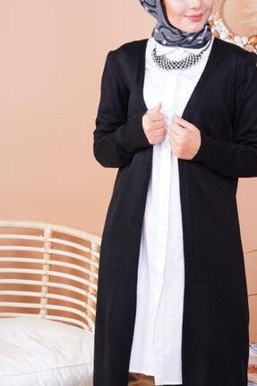 FY Giyim Kadın Siyah Mevsimlik Uzun Triko Hırka 3