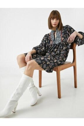 Koton Kadın Gri El Emeği İşlemeli Desenli Uzun Kollu Elbise 0
