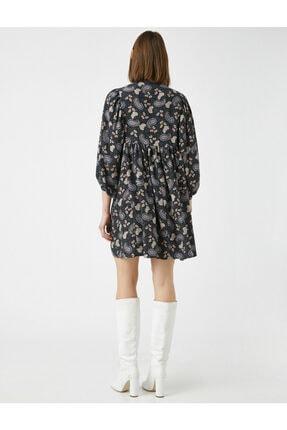 Koton Kadın Gri El Emeği İşlemeli Desenli Uzun Kollu Elbise 3
