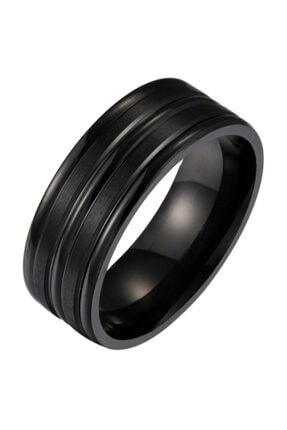 Chavin Unisex Siyah ip Kaplama Çelik Yüzük Alyans ehy-ehy-ec43sy 0