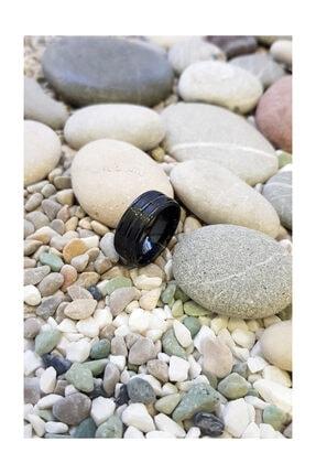 Chavin Unisex Siyah ip Kaplama Çelik Yüzük Alyans ehy-ehy-ec43sy 1