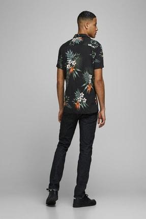 Jack & Jones Erkek Çiçek Desenli Siyah Renk Gömlek 12170678 1