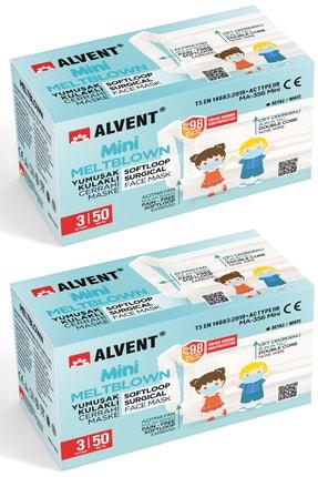 ALVENT Çocuklar Için Yumuşak Kulaklı Meltblown Maske - 100 Adet ( En Az %98 Koruma - Sertifikalı )- Beyaz 0