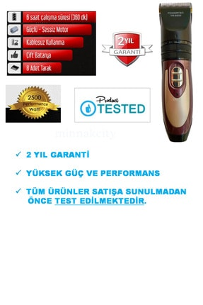 Powertec Profesyonel Saç Kesme Makinesi, Şarjlı Saç Tıraş Makinesi, Sakal Tıraş Makinesi, Tüy Alıcı Makine 1