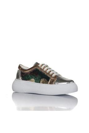 İnci Kadın Gümüş Vegan Kırışıkpul Bağcıklı Klasik Spor Ayakkabı -i3022 1