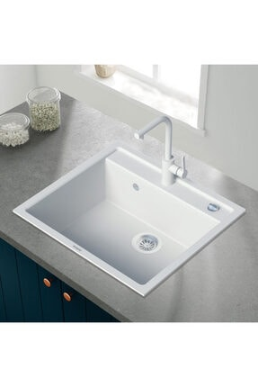 Vıvıano     1 Göz Beyaz 50x56 Cm Granit Evye + Batarya + Otomatik Tuşlu Sifon 0