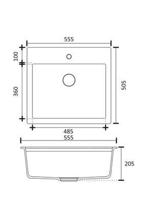 Vıvıano     1 Göz Beyaz 50x56 Cm Granit Evye + Batarya + Otomatik Tuşlu Sifon 2