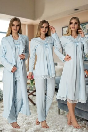 Effort Pijama Effortt 4036 Mavi Lohusa Hamile 4'lü Set 0