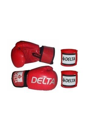Delta Agre Deluxe Pu Kırmızı Boks Eldiveni + Boks Bandajı Seti 0