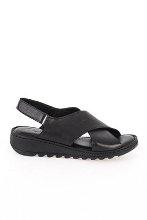 Bambi Hakiki Deri Siyah Kadın Sandalet L0529001903 1