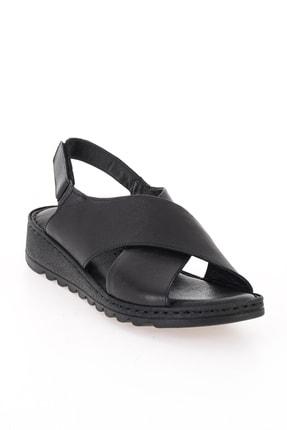 Bambi Hakiki Deri Siyah Kadın Sandalet L0529001903 2