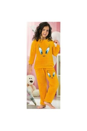 Manolya Sarı Twetty Çocuk Peluş Pijama Takımı 0